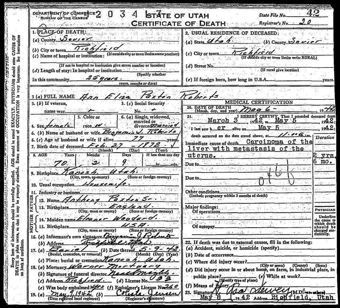 Documents Ann Eliza Paxton 1972 1942 Death Certificate The