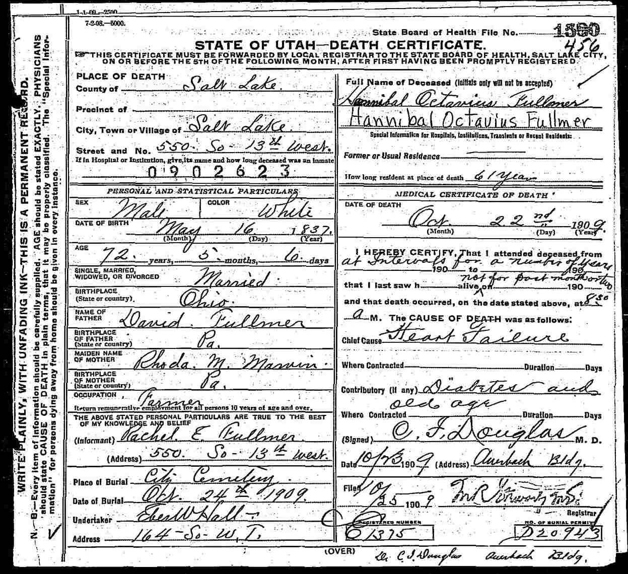 Documents Hannibal Octavias Fullmer 1837 1909 Death Certificate